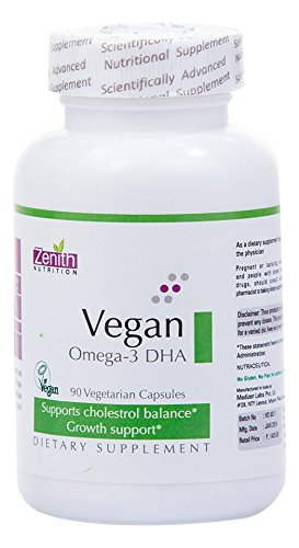 Zenith Nutrition Vegan Omega 3 DHA Supplements (90 Capsules)