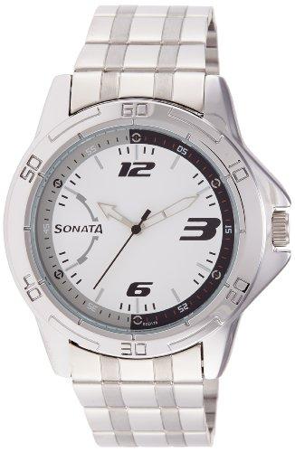 Sonata NK77001SM02 White Dial Analog Men's Watch (NK77001SM02)