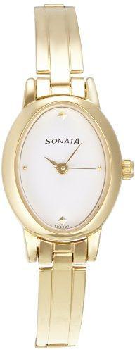 Sonata 8100YM01 Analog White Dial Women's Watch (8100YM01)