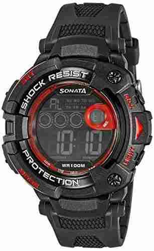 Sonata 77010PP02 Ocean Digital Black Dial Men's Watch (77010PP02)