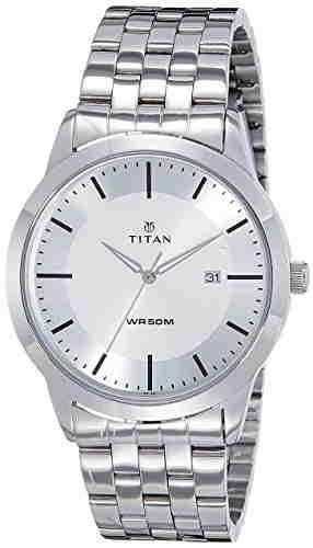 Titan 1584SM03 Analog Silver Dial Men's Watch (1584SM03)