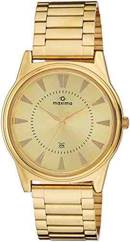 Maxima 34754CMGY Analog Gold Dial Men's Watch