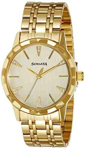 Sonata 7113YM02 Champagne Analog Watch (7113YM02)