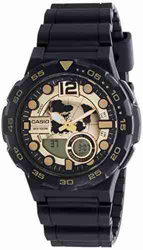 Casio Youth AEQ-100BW-9AVDF (AD203) Combination Analog Digital Gold Dial Men's Watch (AEQ-100BW-9AVDF (AD203))