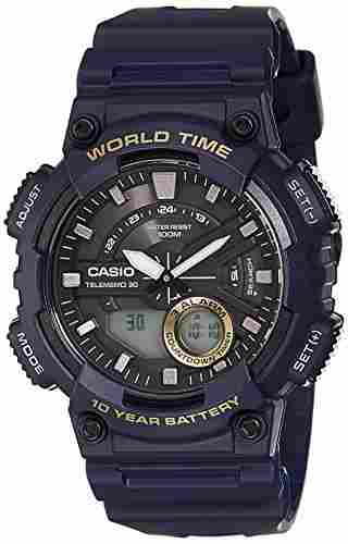 Casio Youth AEQ-110W-2AVDF (AD208) -Combination Analog-Digital Black Dial Men's Watch (AEQ-110W-2AVDF (AD208))