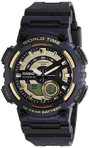 Casio Youth AEQ-110BW-9AVDF (AD206) Combination Analog-Digital Gold Dial Men's Watch (AEQ-110BW-9AVDF (AD206))