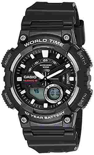 Casio Youth AEQ-110W-1AVDF (AD207) Combination Analog Digital Black Dial Men's Watch (AEQ-110W-1AVDF (AD207))