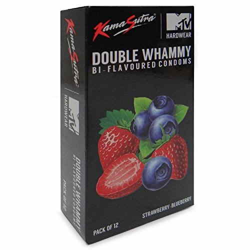Kamasutra Double Whammy Bi Flavoured Strawberry Blueberry Condoms (60 Condoms)