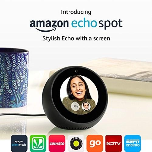 Amazon Echo Spot Stylish Echo with a screen Portable Bluetooth Speaker, Black