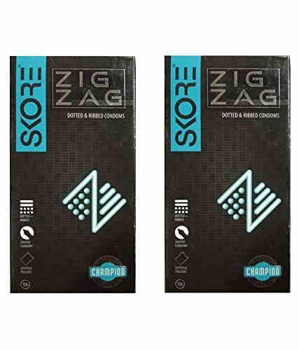 Skore Zig Zag Condoms (10 Condoms) - Pack of 2