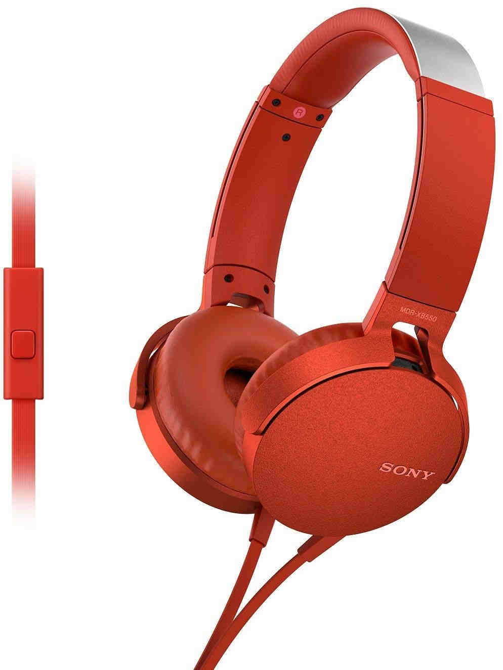 Sony MDR-XB550AP On-Ear Extra Bass Headphones, Red