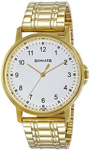 Sonata 77083YM01 Essentials White Dial Analog Men's Watch (77083YM01)