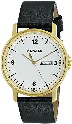 Sonata 77083YL01 Essentials White Dial Analog Men's Watch (77083YL01)