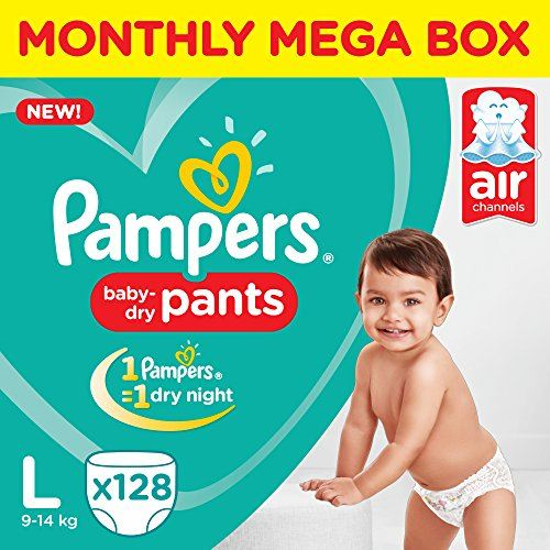 Pampers Monthly Mega Box Air Channels L Diapers (128 Pieces)