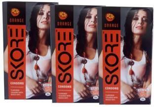 Skore Orange Flavoured Dotted Condoms (30 Condoms)