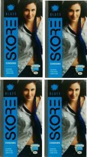 Skore Blues Coloured Condoms (40 Condoms) - Pack of 4