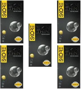 Skore Skin Thin Condoms (10 Condoms) - Pack of 5