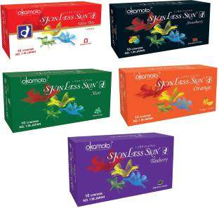 Okamoto Skinless Skin Ultra Thin Strawberry Blueberry Mint and Orange Condoms(50 Condoms)