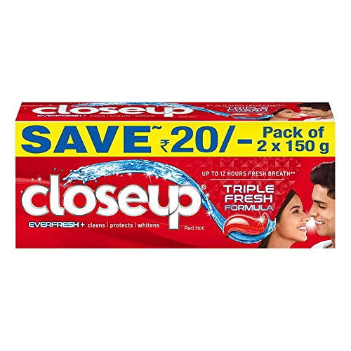Closeup Everfresh+ Anti-Germ Gel Toothpaste Red Hot, Save Rs. 20, 2x150gm