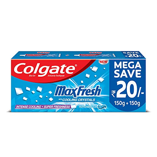 Colgate Max Fresh Blue Gel Toothpaste for super freshness, 300gm, Peppermint Fresh Saver Pack