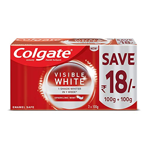 Colgate Visible White, Teeth Whitening Toothpaste with Sparkling Mint- Saver Pack