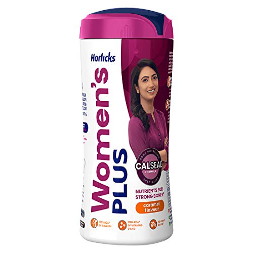 Horlicks Womens Health and Nutrition Drink, Caramel Flavor (No Added Sugar)