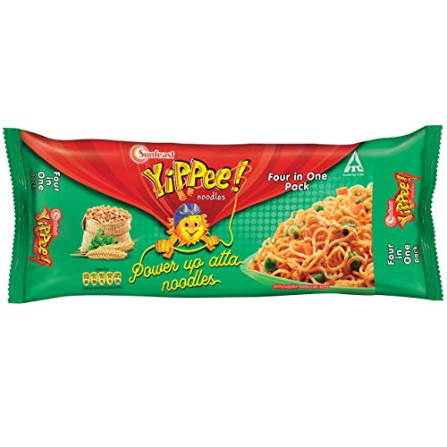 Sunfeast YiPPee! Power Up Atta, Whole Wheat Instant Noodles (Four in One Pack) 280g Pack