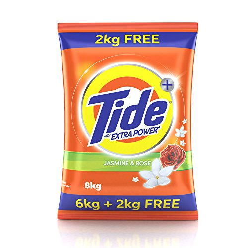 Tide Plus Extra Power Detergent Washing Powder, 6 + 2kg (Jasmine and Rose)
