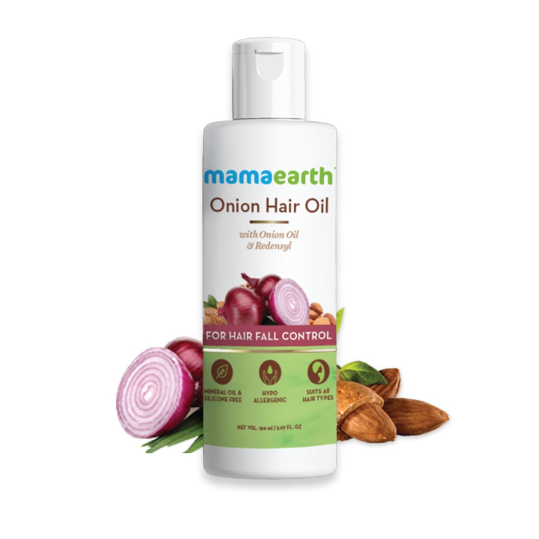 MamaEarth Onion Hair Oil for Hair Regrowth & Hair Fall Control with Redensyl