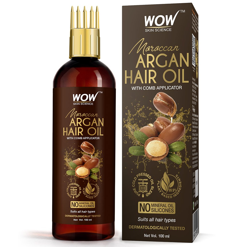 Wow Moroccan Argan Hair Oil, with Comb Applicator, Cold Pressed, No Mineral Oil & Silicones