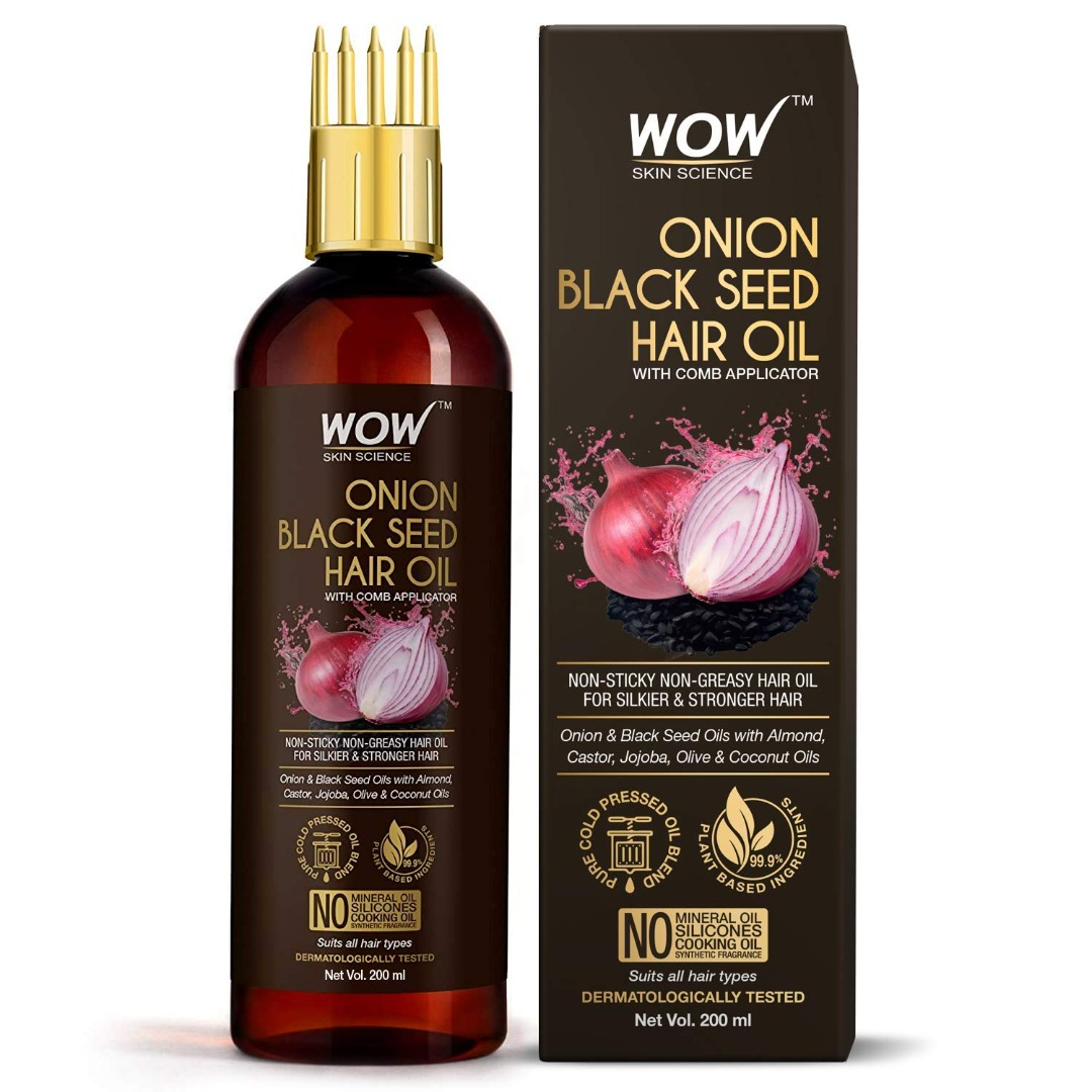 Wow Onion Black Seed Hair Oil, with Comb Applicator, Controls Hair Fall, No Mineral Oil, Silicones, Cooking Oil & Synthetic Fragrance