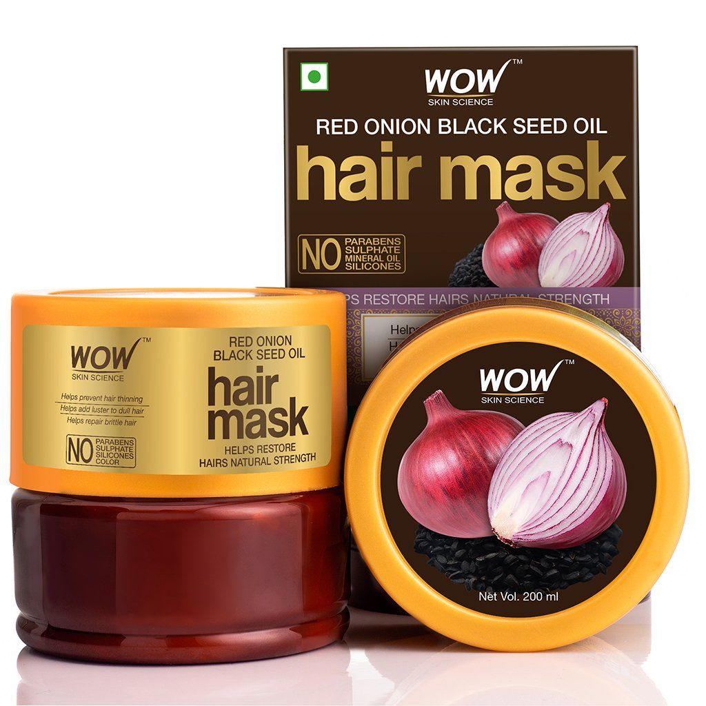 Wow Red Onion Black Seed Oil Hair Mask with Red Onion Seed Oil Extract & Black Seed Oil