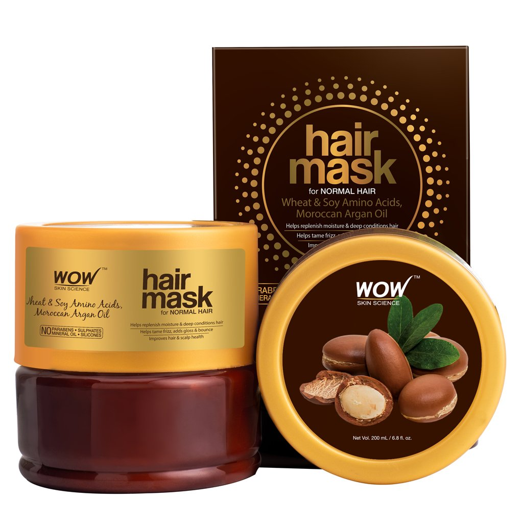 Wow Wheat & Soy Amino Acids, Moroccan Argan Oil Hair Mask for Normal Hair