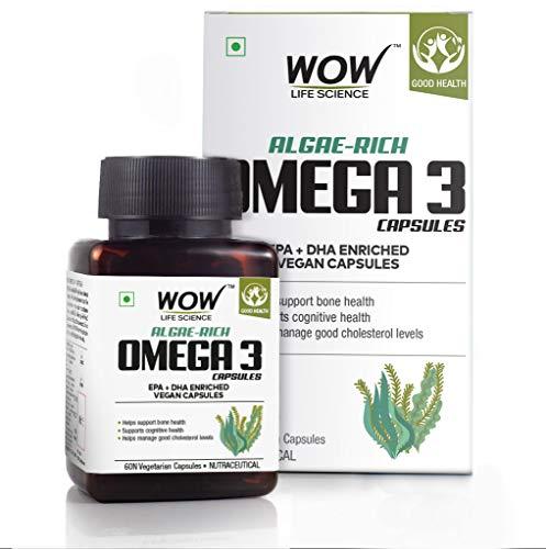 Wow Algae-Rich Omega 3 Capsules, Epa + Dha Enriched Vegan Capsules, 60 Veg Capsules