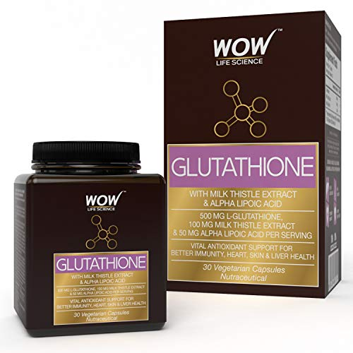 Wow Glutathione with Milk Thistle Extract 500 Mg, 30 Veg Capsules