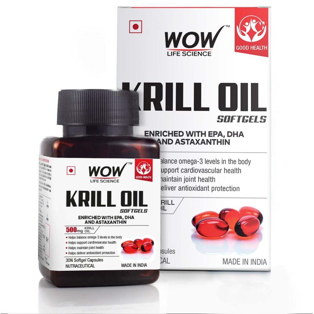Wow Krill Oil Softgels, Enriched with Epa, Dha & Astaxanthin, 500Mg Krill Oil, 30 Softgel Capsules