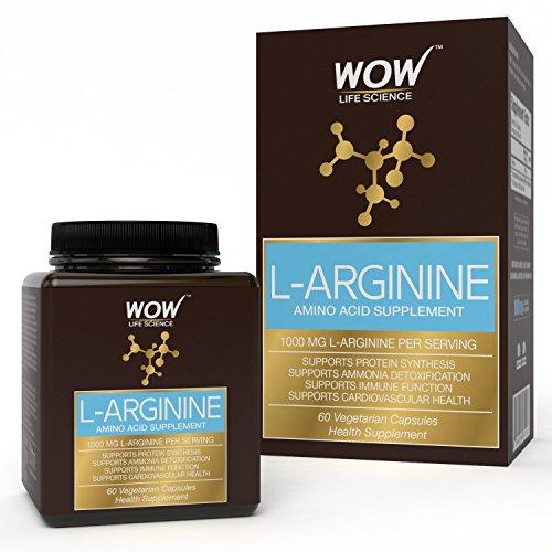 Wow L-Arginine Amino Acid Supplement 1000Mg, 60 Veg Capsules