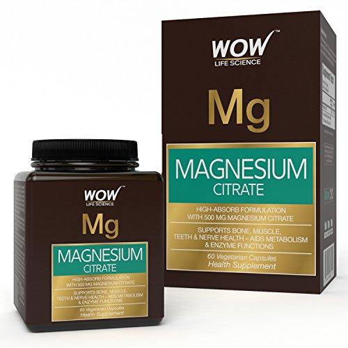 Wow Magnesium Citrate 500Mg, 60 Veg Capsules