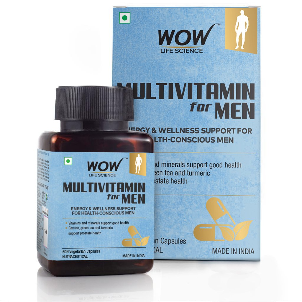 Wow Multivitamin for Men, with Glycine, Green Tea, Turmeric, Vitamins, 60 Veg Capsules