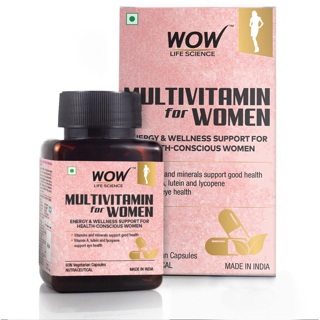 Wow Multivitamin for Women, with Vitamin A, Lutein & Lycopene, 60 Veg Capsules