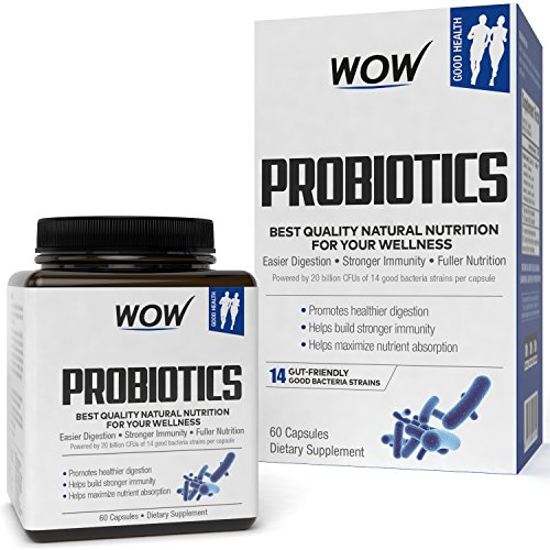 Wow Probiotics 20 Billion Cfu (14 Probiotic Strains) 500 Mg, 60 Veg Capsules