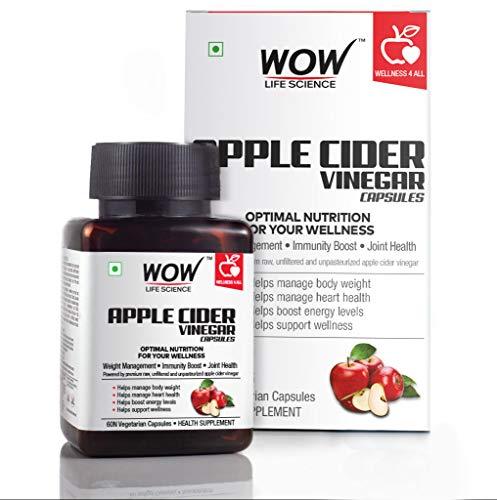 Wow Raw Apple Cider Vinegar 500 Mg, 60 Veg Capsules