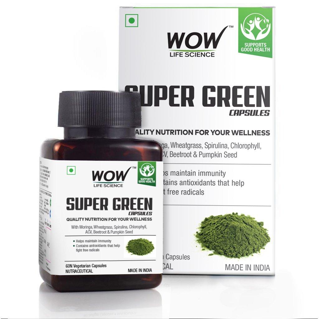 Wow Super Green Capsules, with Moringa, Wheatgrass, Spirulina, Acv, Beetroot, Chlorophyll & Pumpkin Seed, 550Mg, 60 Veg Capsules