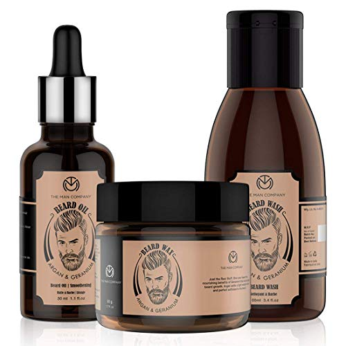 The Man Company Argan & Geranium Beard Affair - Beard Oil + Beard Wash + Beard Wax