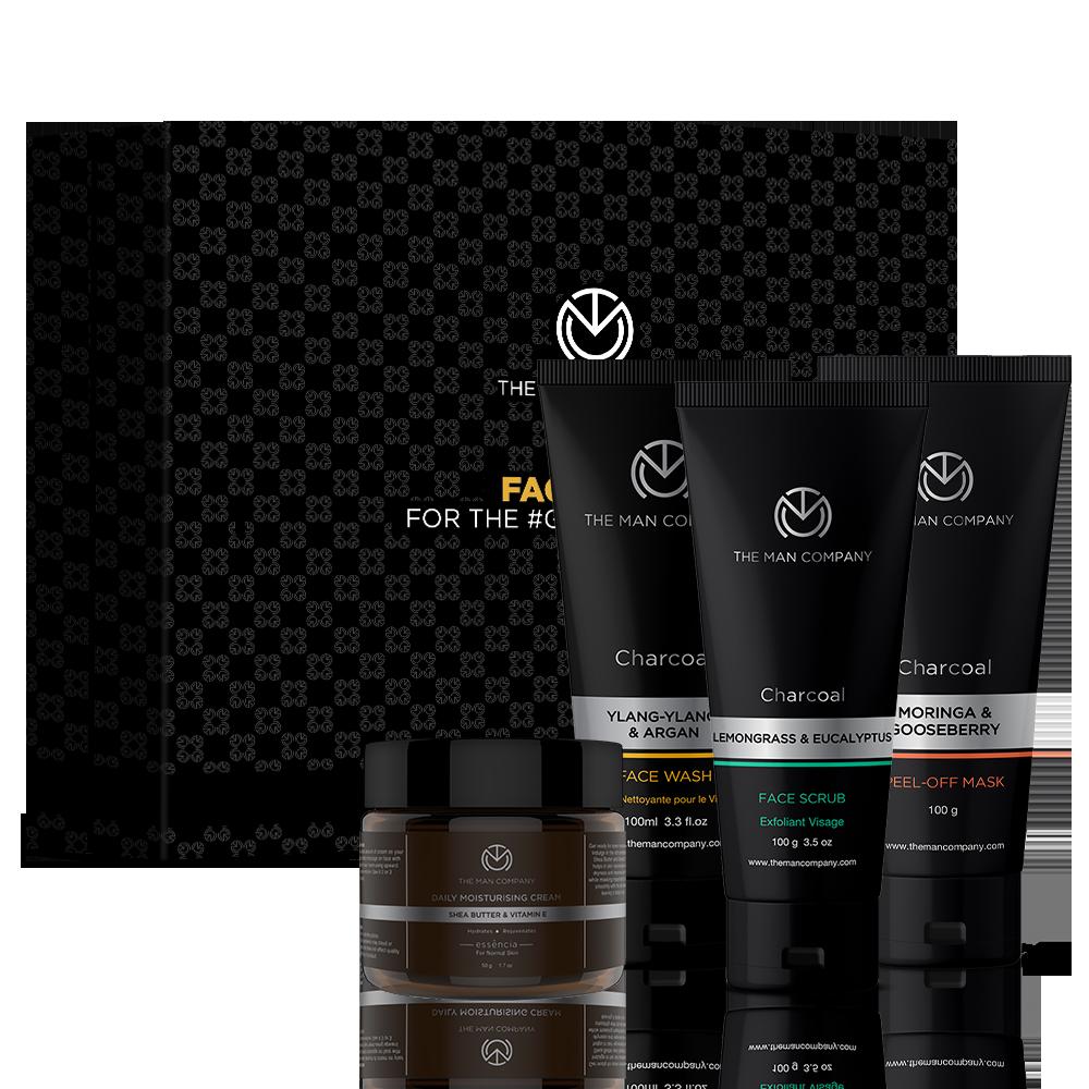 The Man Company Ayushmann Face Care Box - Face Scrub + Face Wash + Moisturiser + Peel-off Mask