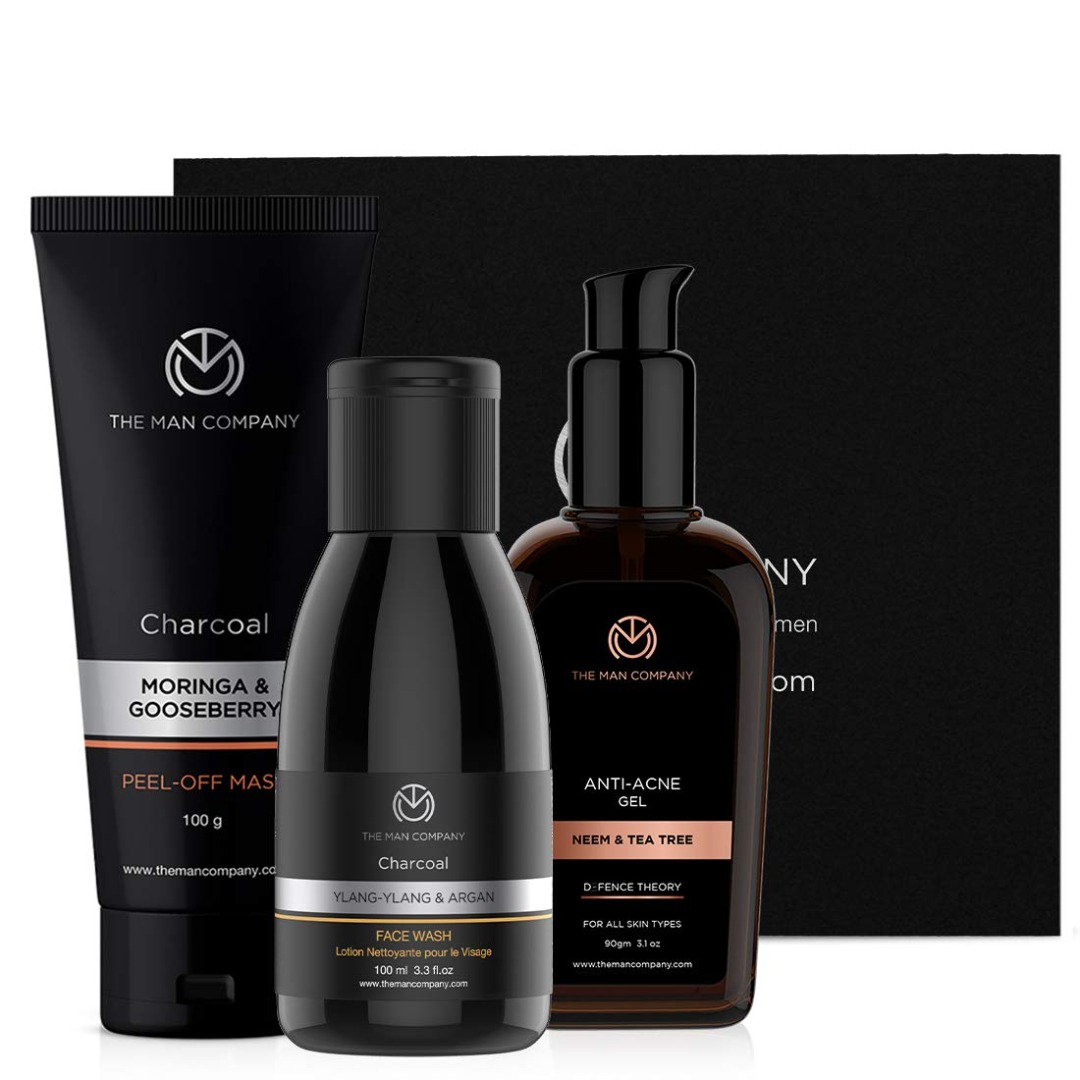 The Man Company Super Cleansing Combo - Face Wash + Peel off Mask + Anti-Acne Gel