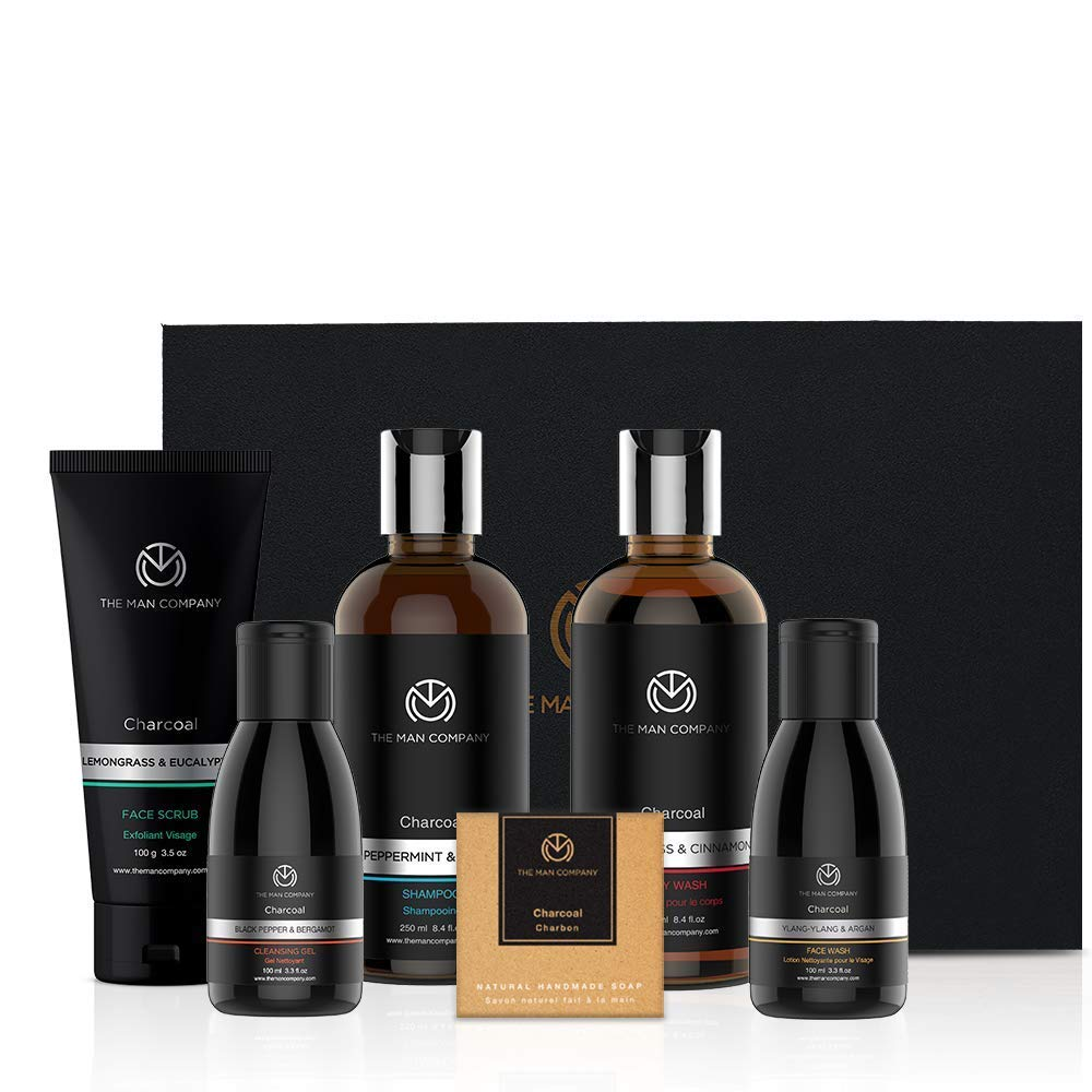 The Man Company The Charcoal Gang - Body Wash + Shampoo + Face Scrub + Face Wash + Cleansing Gel + Soap
