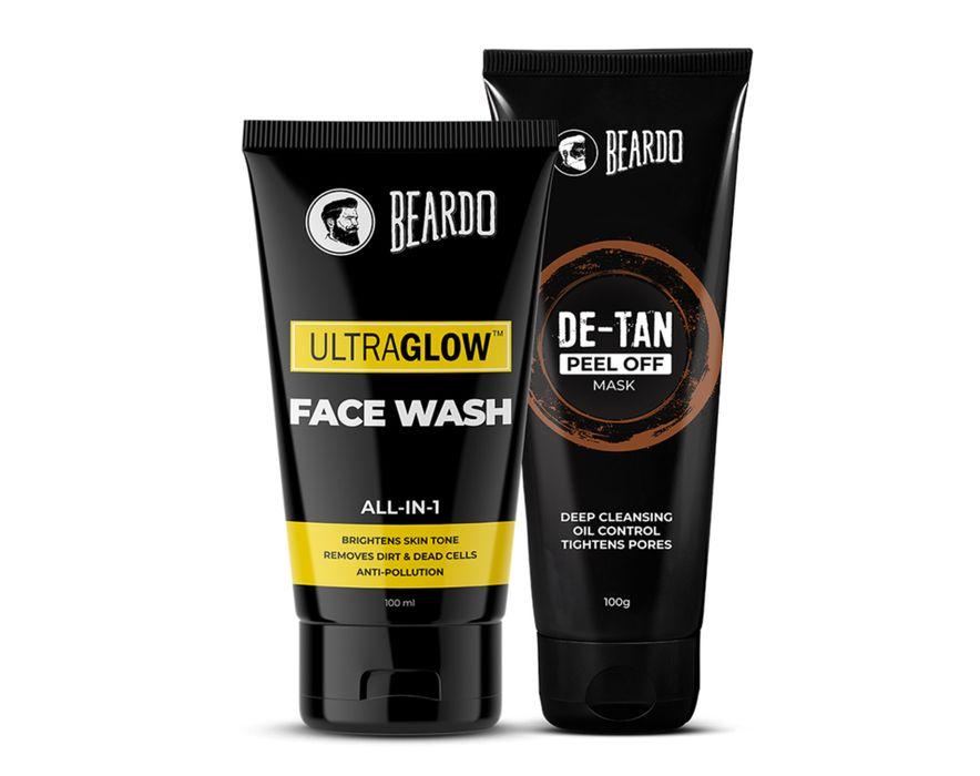 Beardo Ultraglow Facewash & De-Tan Peel off Mask Combo