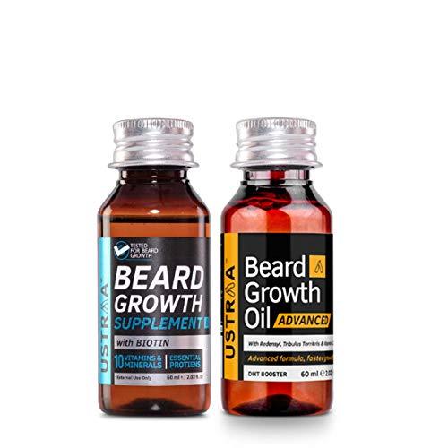 Ustraa Beard Growth Oil Advanced, 60 ml and Beard Growth Supplement