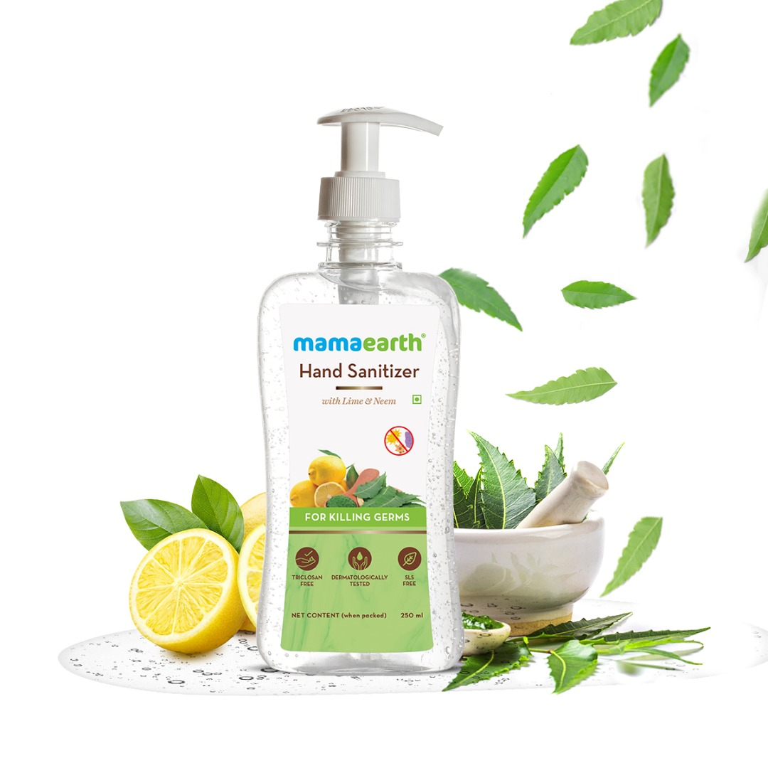 MamaEarth Hand Sanitizer with Lime & Neem for Killing Germs